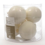Decoris Wool White 80mm Glass Baubles (Pack of 6)