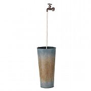 Zinc Bucket Fountain Water Feature with LED Lights - Steel Grey