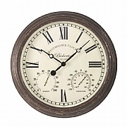 Outside In Bickerton Wall Clock & Thermometer 15''