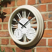 "Outside In Exeter Wall Clock & Thermometer 15"" Cream"