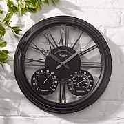 Outside In Exeter Wall Clock & Thermometer  15'' Black