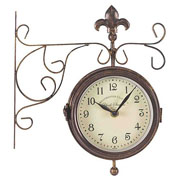 York Station Double Sided Clock & Thermometer