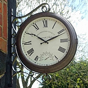 Outside In Double Sided Greenwich Station Clock & Thermometer