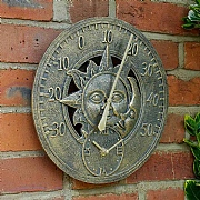 Outside In Sun & Moon Wall Thermometer & Clock