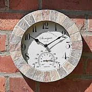 Outside In Stonegate Sandstone Wall Clock & Thermometer