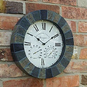 Outside In Stonegate Wall Clock & Thermometer 14'' Slate