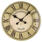 "Outside In Westminster Tower Wall Clock 12"" Cream"