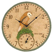 Outside In Barn Owl Wall Clock & Thermometer 12""