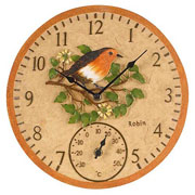 Outside In Robin Wall Clock & Thermometer 12""