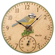 Outside In Blue Tit Wall Clock & Thermometer 12""