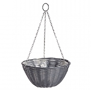 Dark Grey Rattan Effect Hanging Basket 35cm