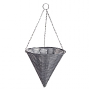 Dark Grey Rattan Effect Hanging Cone 35cm