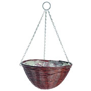Rattan Effect Brown Hanging Basket 35cm