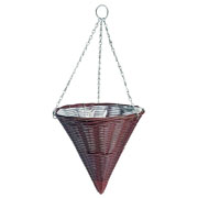 Rattan Effect Brown Hanging Cone 35cm