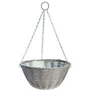 Rattan Effect Light Grey Hanging Basket 35cm