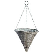 Rattan Effect Light Grey Hanging Cone 35cm