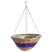 Banana Leaf & Purple Braid Hanging Basket 35cm