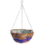 Banana Leaf & Purple Braid Scalloped Basket 35cm