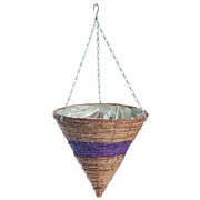 Banana Leaf & Purple Braid Hanging Cone 35cm