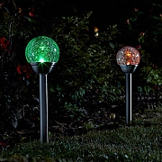 Smart Solar Crackle Globe Stainless Steel Stake Light Pack of 5