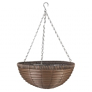 Smart Garden Chestnut Faux Rattan Hanging Basket - 14''