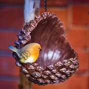 Vivid Arts Open Pine Cone Bird Feeder with Robin
