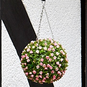 Smart Garden Pink Rose Artificial Topiary Ball 30cm