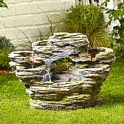 Kelkay Moss Crag Spills Water Feature with LED Light