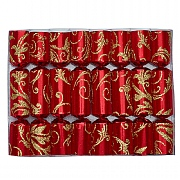 "Robin Reed Red Floral Glitter 6"" Christmas Crackers Pack of 8"