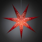 Hanging LED Paper Star Red/White 78cm