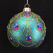 Gisela Graham Peacock Feather Scalloped Glass Bauble 80mm