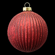 Matt Red Ribbed Red Glitter Bauble 80mm
