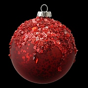 Antique Cherry Red with Crushed Beads Bauble 80mm