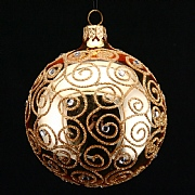 Gold with Glitter Filigree Bauble 80mm