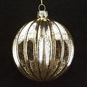 Clear Antique Gold Ribbed Bauble 80mm