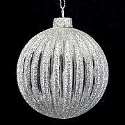 Clear Silver Glitter Ribbed Bauble 80mm
