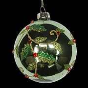 Forest Green with Spiral Holly Bauble 80mm
