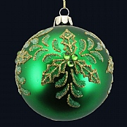 Emerald Beaded Holly Bauble 80mm