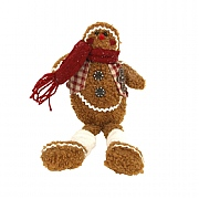 Gisela Graham Fabric Gingerbread Man Shelf Sitter Ornament Small