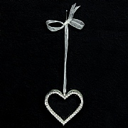 Clear Glass Heart with Diamante Edge