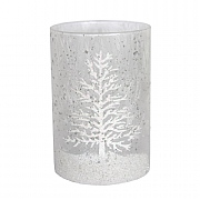 Gisela Graham White Damask Snow Scene Glass Nite Lite