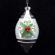 Shiny Silver White with Glitter Holly Bauble 80mm