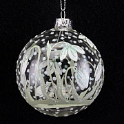 Clear with Painted Snowdrops Bauble 80mm
