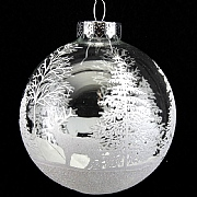 Gisela Graham Clear Glass Ball With White Trees & Stag Design