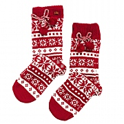 Fair Isle Slipper Socks with Pom Poms - Red
