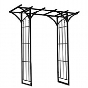 Panacea Flat Top Garden Arch with Finials - Black