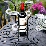 Panacea Wine Bottle and Glasses Caddy Black