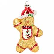Glass Gingerbread Man Tree Decoration 13cm
