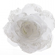 Winter White Clip On Rose - 14cm