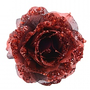 Decoris Red Glitter Clip on Rose 14cm